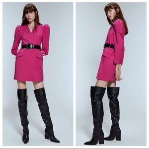 NWT. Zara Fuchsia Blazer Dress. Size S.